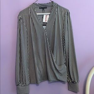 Pin striped, wrap around, long sleeved, blouse